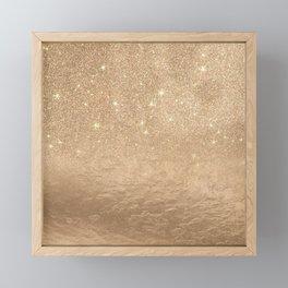 Glamorous Gold Sparkly Glitter Foil Ombre Gradient Framed Mini Art Print