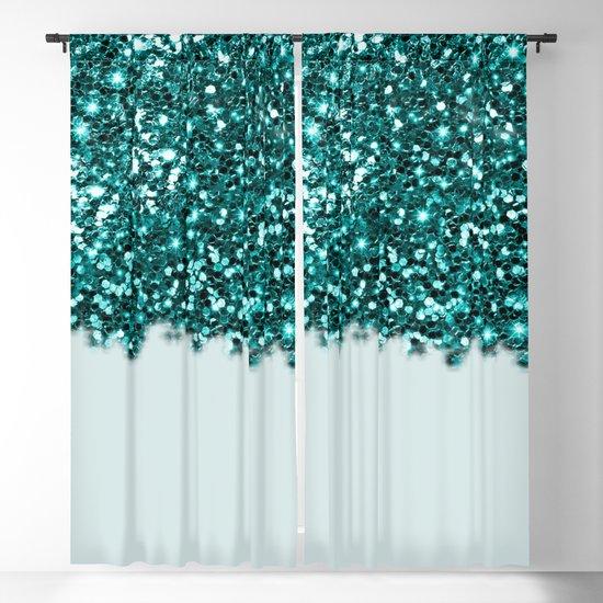 Teal Sparkle Curtains /& Valances