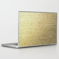 gold glitter Laptop & iPad Skins featuring gold glitter by lamottedesign