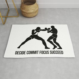 decide commit focus succeed - boxing quote Rug