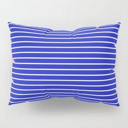 Royal Blue and White Horizontal Stripes Pillow Sham