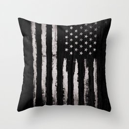 White Grunge American flag Throw Pillow