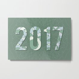2017 year illustration decorated with abstract  decorative pattern in grey colors. Metal Print