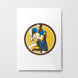 Rugby Player Running Goose Steps Circle Retro Metal Print