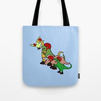 roller derby Tote Bags featuring Roller Derby Dinosaurs by Jez Kemp