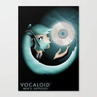 vocaloid Canvas Prints featuring Vocaloid Miku Append by Katy Marie Ketter-Franklin