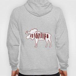 Red Buffalo Plaid Moose ADVENTURE typography Hoody