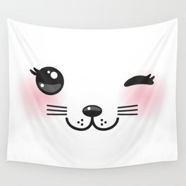 Kawaii funny cat with pink cheeks and winking eyes on white background Wall Tapestry