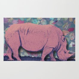 Pink Rhinoceros Collage Rug