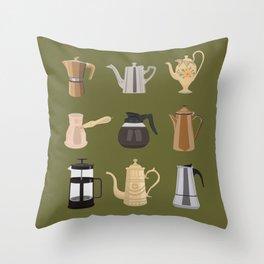 Coffee Pots Throw Pillow