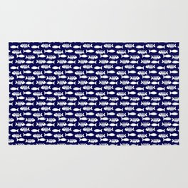 Navy blue maritime sea fishes pattern Rug