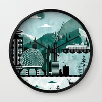 travel poster Wall Clocks featuring Vancouver Travel Poster Illustration by ClaireIllustrations