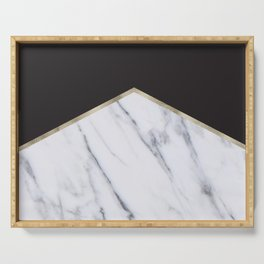 Gilded ebony and soft white marble Serving Tray