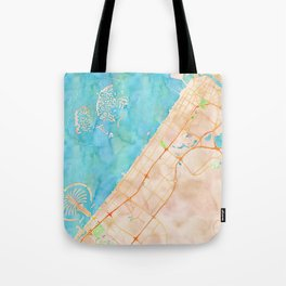 Dubai UAE city watercolor map print Tote Bag