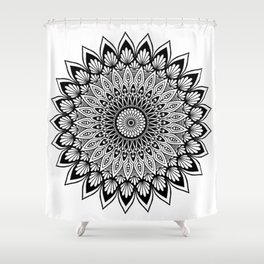 Sacred Lotus Black and White Mandala - LaurensColour Shower Curtain