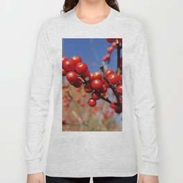 Winterberries glow against a blue autumn sky Long Sleeve T-shirt