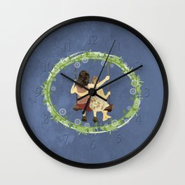 Sisters on swing Wall Clock