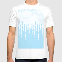 Marble and Geometric Diamond Drips, in Blue T-shirt