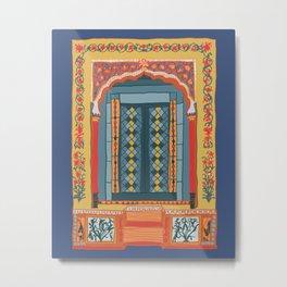 moroccan door in navy Metal Print