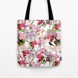 Vintage & Shabby Chic Pink Cockatoo Tropical Flower Jungle Tote Bag