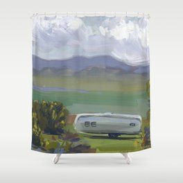 AIRSTREAM, Montana Travel Sketch by Frank-Joseph Shower Curtain