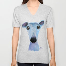 Nosey Dog Whippet Greyhound ' BLUEBELL ' by Shirley MacArthur Unisex V-Neck