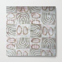 Tapa - Earth & Moon (brown check) Metal Print