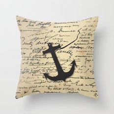 Vintage gray retro nautical anchor marine paper Throw Pillow