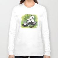 pandas Long Sleeve T-shirts featuring Pandas by Lisidza's art