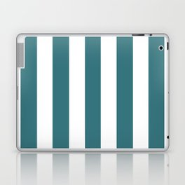Ming blue - solid color - white vertical lines pattern Laptop & iPad Skin