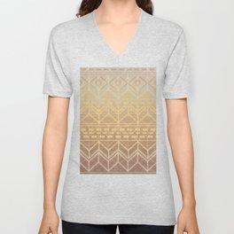 Neutral Tan & Gold Tribal Ikat Pattern Unisex V-Neck
