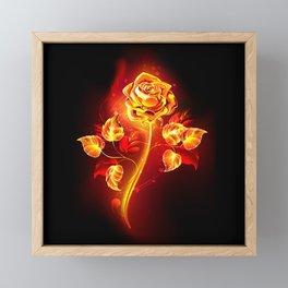 Fire Rose Framed Mini Art Print