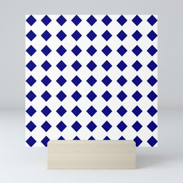rhombus and tartan 8–  blue and white Mini Art Print