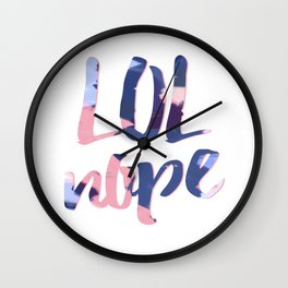 LOL Nope - Typography Navy and coral Wall Clock