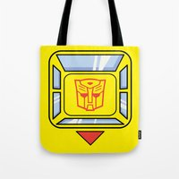 transformers Tote Bags featuring Transformers - Bumblebee by CaptainLaserBeam