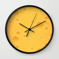 cheese Wall Clocks featuring Cheese by Screen Candy