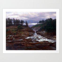 Johan Christian Dahl The Lower Falls of Labrofoss Art Print