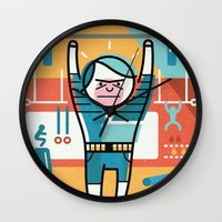 crossfit Wall Clocks featuring Crossfit by Jack Hornady Illustrations