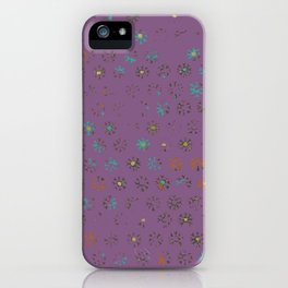 Petroglyph Sun Pattern in faded multicolor purple iPhone Case