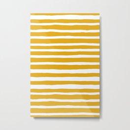 I Got Stripes in Mustard Yellow Metal Print