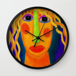 Blonde Abstract Digital Portrait of a Woman Wall Clock