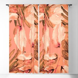 TROPICAL FERNS AND FLOWERS IN SHADES OF coral peach and burnt orange Blackout Curtain