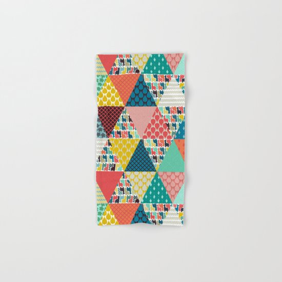 llama geo triangles Hand & Bath Towel