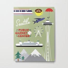 Seattle Art Print Metal Print