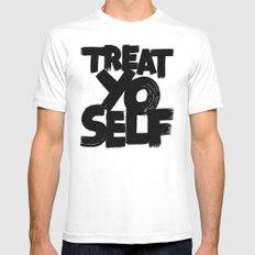 treat yo self MEDIUM Mens Fitted Tee White