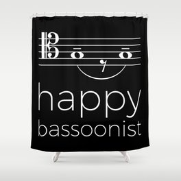 Happy bassoonist (dark colors/tenor clef) Shower Curtain