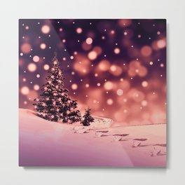 Winter Trees and snow with light orange background Metal Print