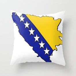 Bosnia and Herzegovina Map with Flag Throw Pillow