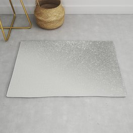 Diagonal Gray Silver Glitter Gradient Ombre Rug