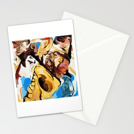 Playing Saxophone and Cello Abstract Expressive Painting Stationery Cards